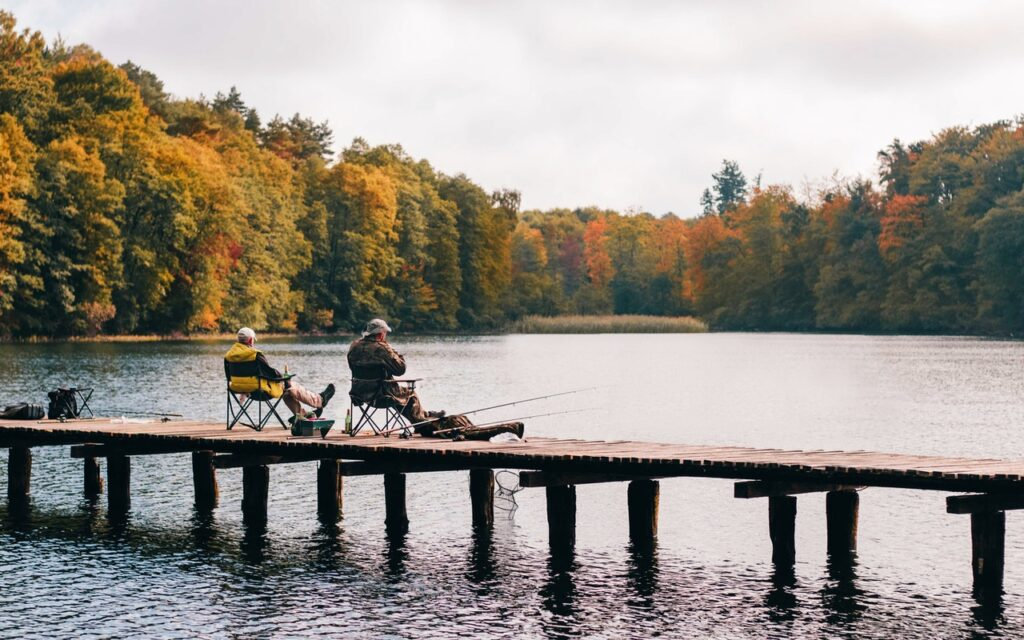 Two men fishing at Mt. Baker
