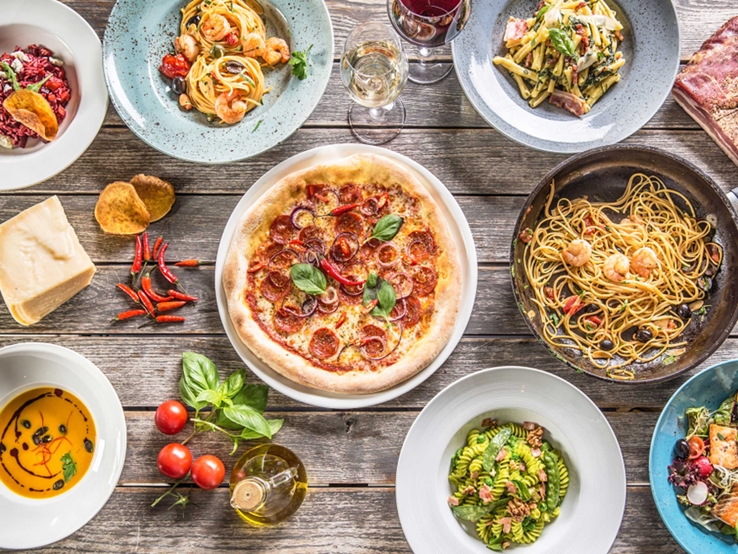 Top View Full Table of Italian Food Meals